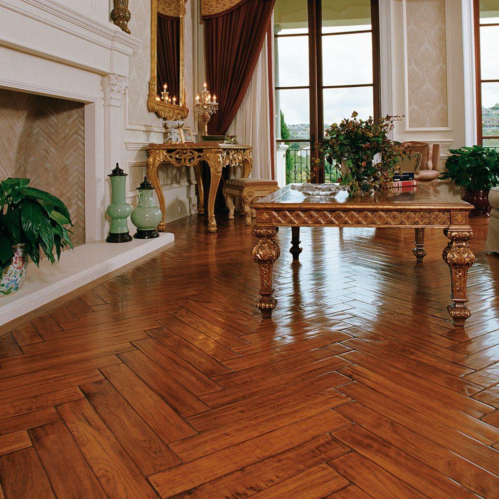 Traditional Living Room with Herringbone Design