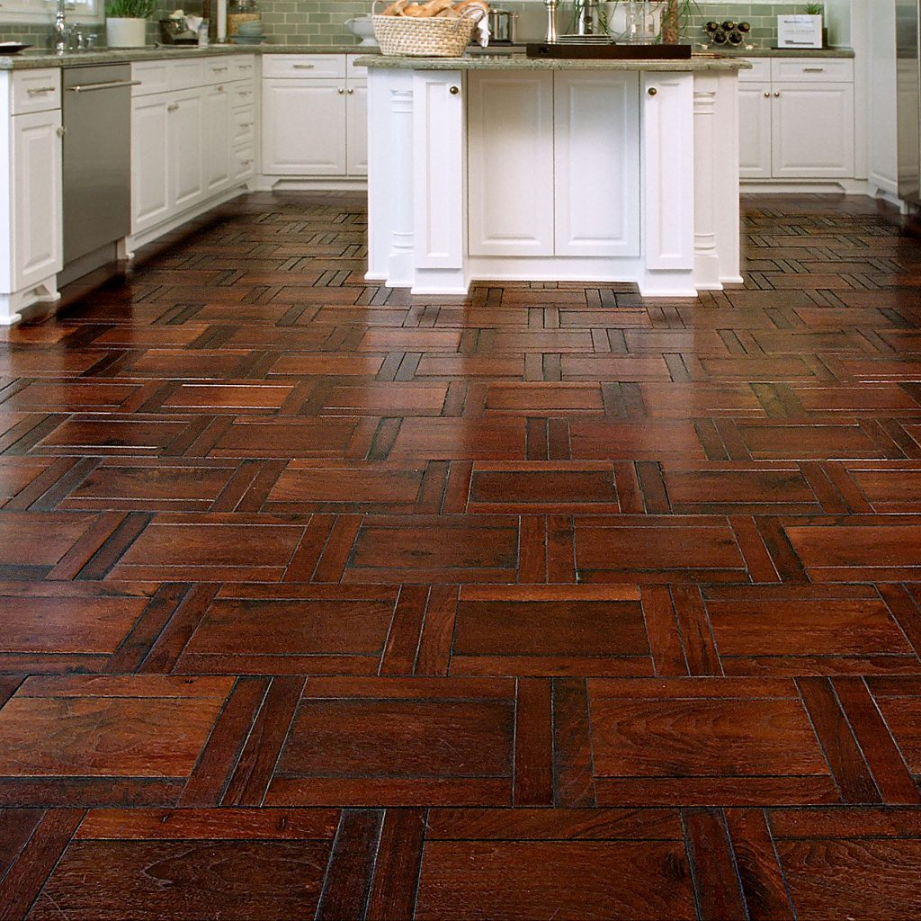 Kitchen with Parquet Hardwood Floor