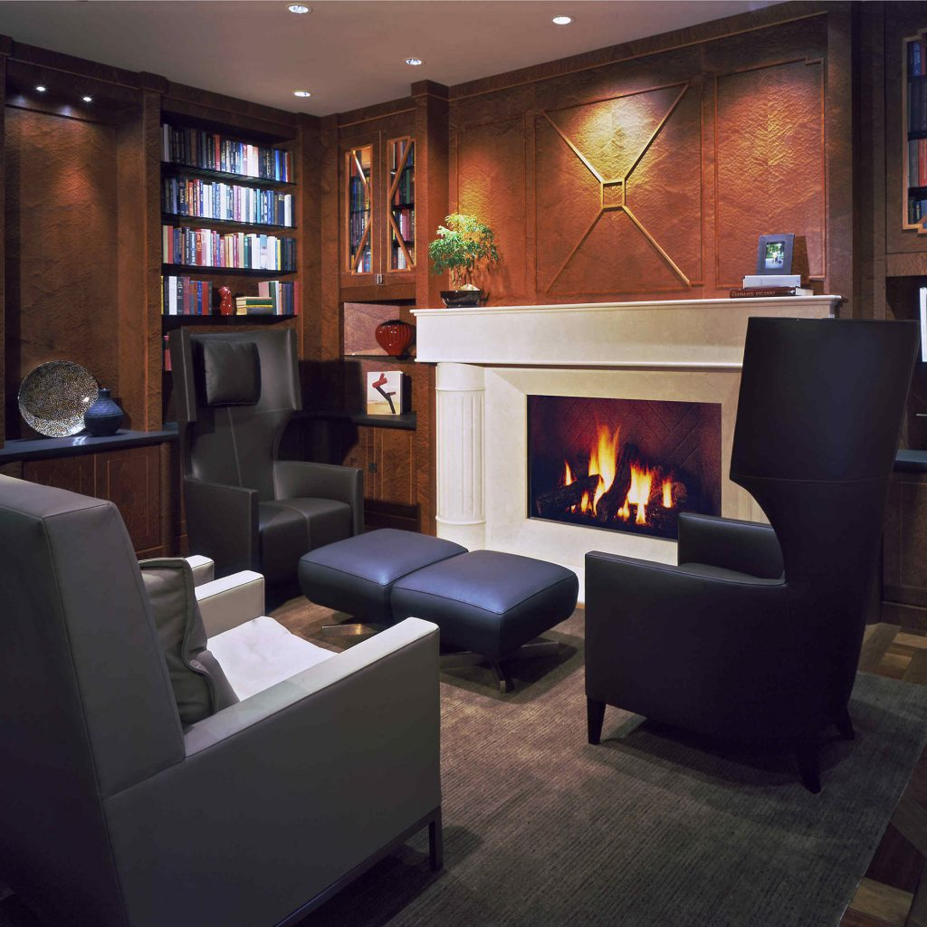 Modern Library with Fireplace