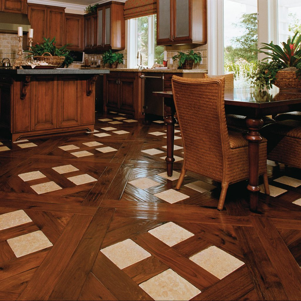 Traditional Kitchen with Stone Parquet Inlay